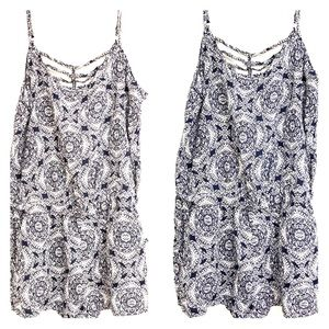 Pants - Navy and white print romper
